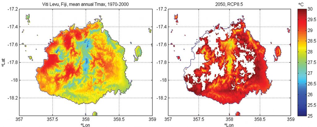 Temperature maps of Fiji in baseline and 2050 projection periods